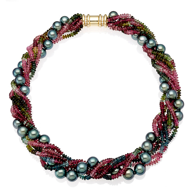 Gump's Tourmaline & South Sea Pearl Twist Necklace