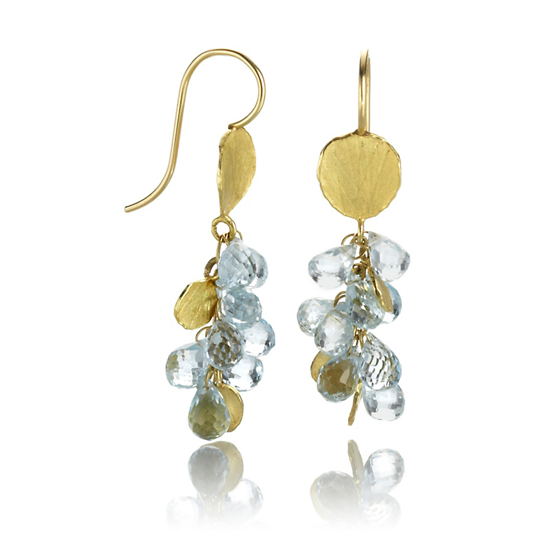 Barbara Heinrich Aquamarine Briolette Cluster Drop Earrings