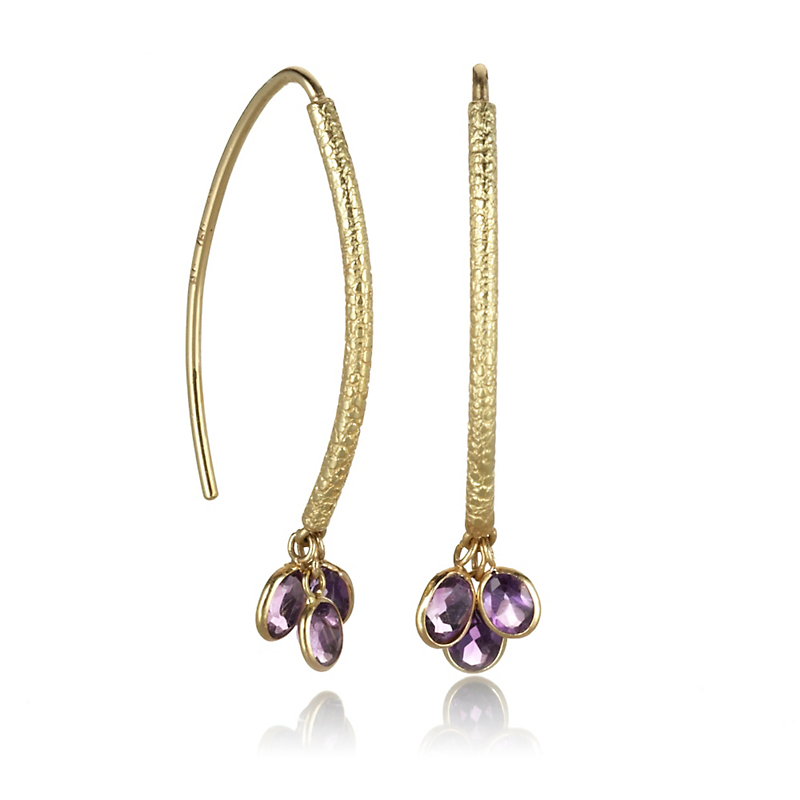 Barbara Heinrich Amethyst Navette Drop Earrings
