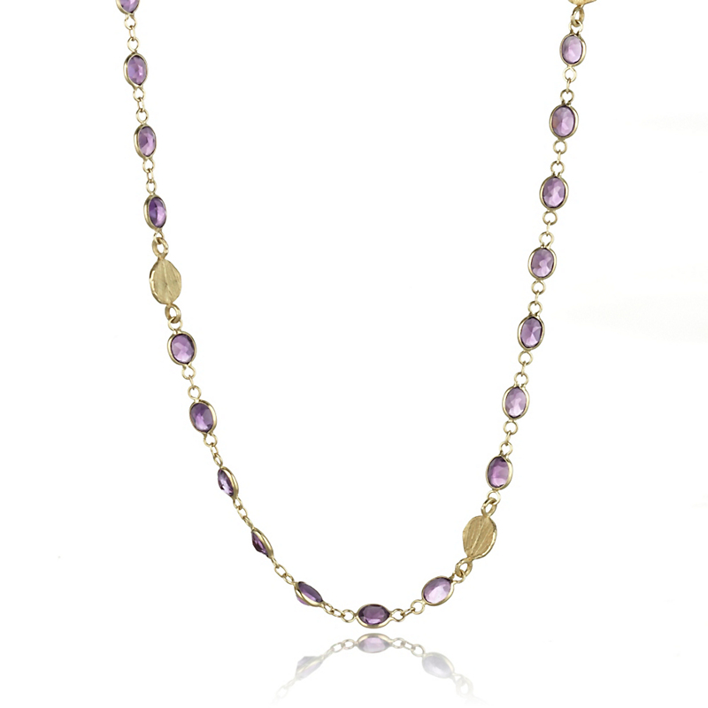 Barbara Heinrich Amethyst & Gold Petal Necklace