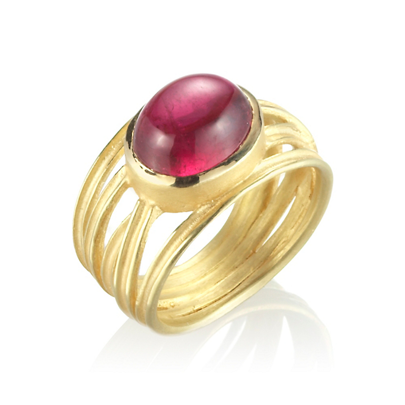 Barbara Heinrich Gold Criss Cross Rubellite Ring