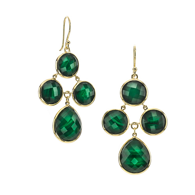 Elizabeth Showers Audrey Quartz & Malachite Chandelier Earrings