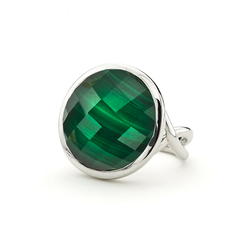 Elizabeth Showers Faceted White Quartz over Malachite Silver Icon Ring