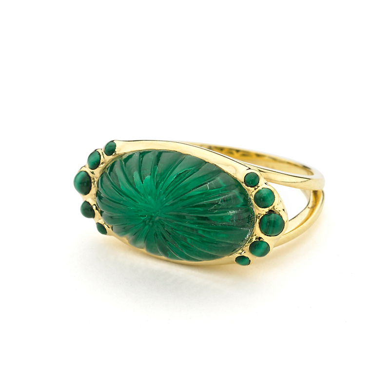 Elizabeth Showers White Quartz Over Malachite Ring