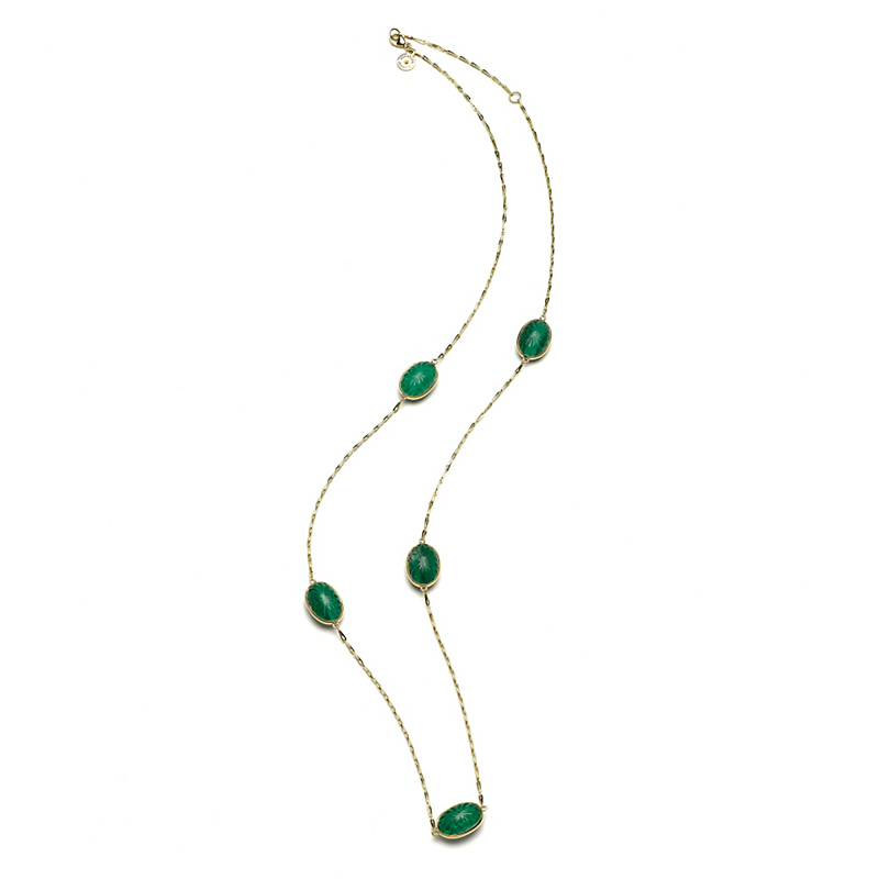Elizabeth Showers Soleil Sunburst White Quartz & Malachite Necklace