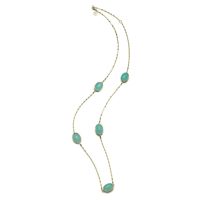 Elizabeth Showers Soleil Sunburst White Quartz & Turquoise Necklace