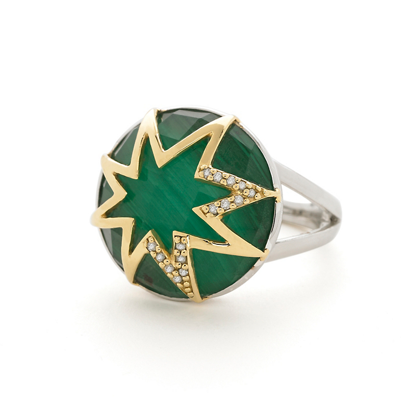 Elizabeth Showers Large Starburst Malachite & Diamond Ring