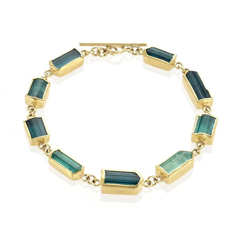 Petra Class Green Tourmaline & Gold Pentagon Bracelet