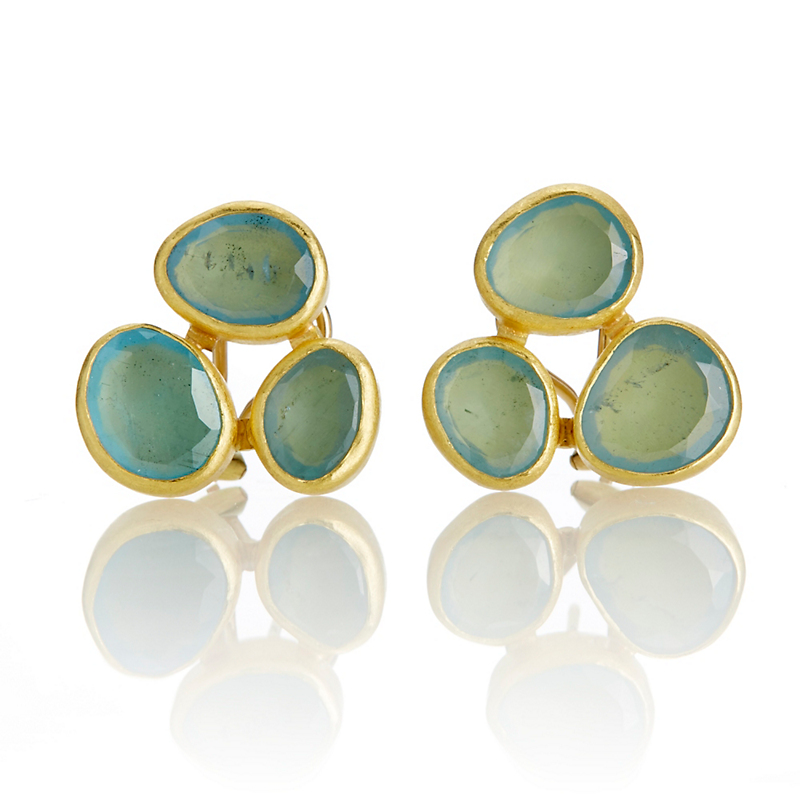 Petra Class Triple Aquamarine Cluster Earrings