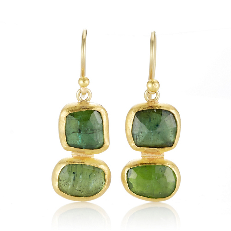 Petra Class Green Tourmaline Rose Cut Double Drop Earrings