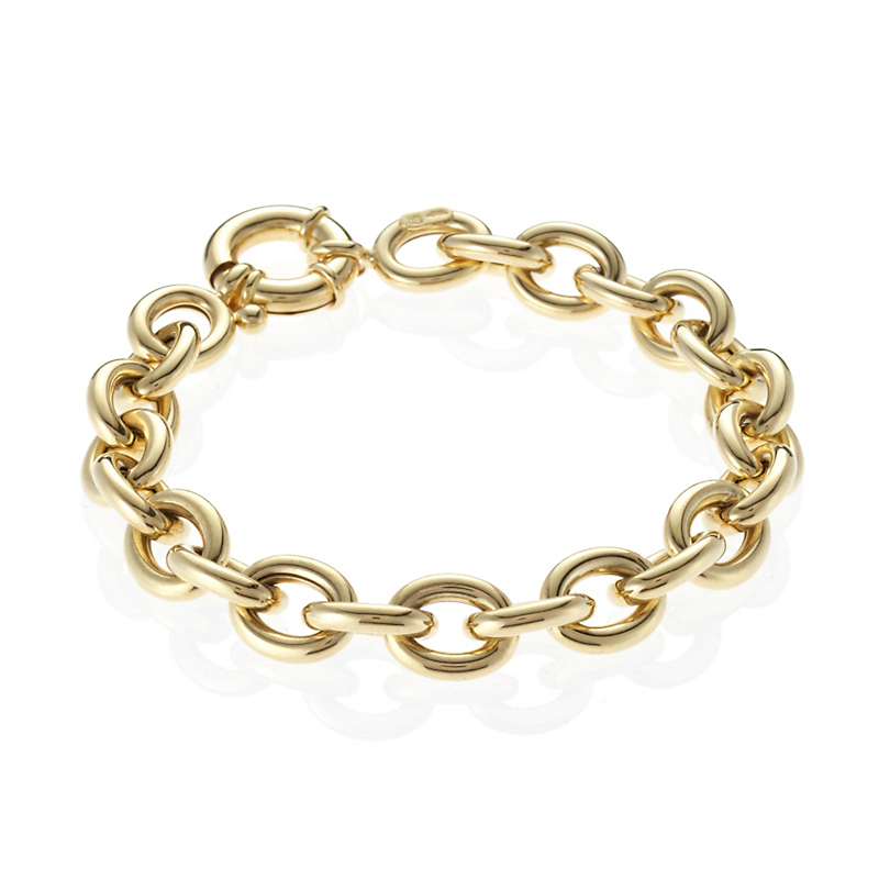 Polished Gold Oval Link Bracelet