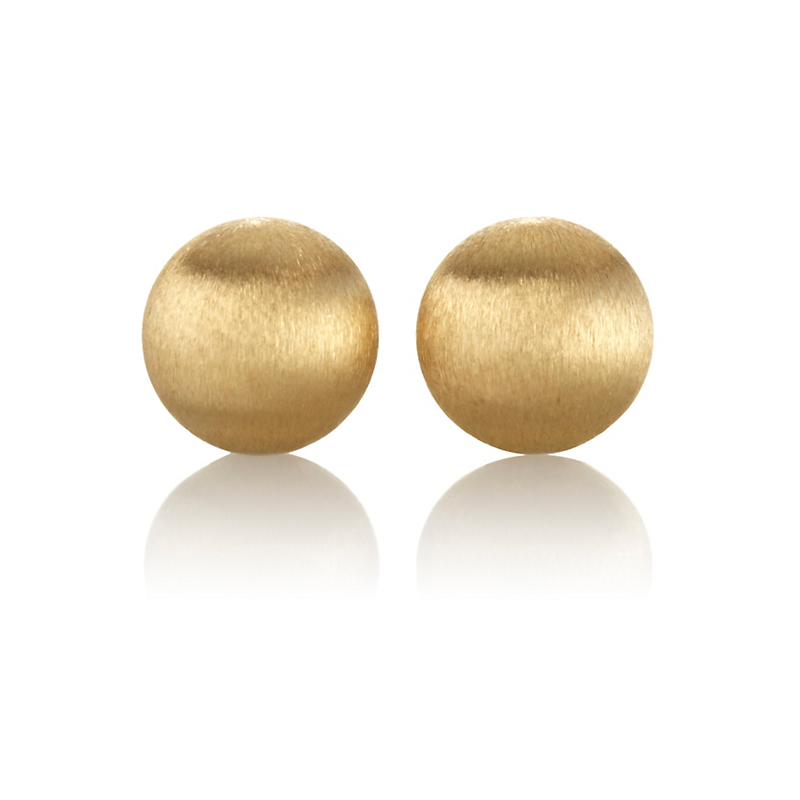 Small Satin Finish Gold Dome Earrings
