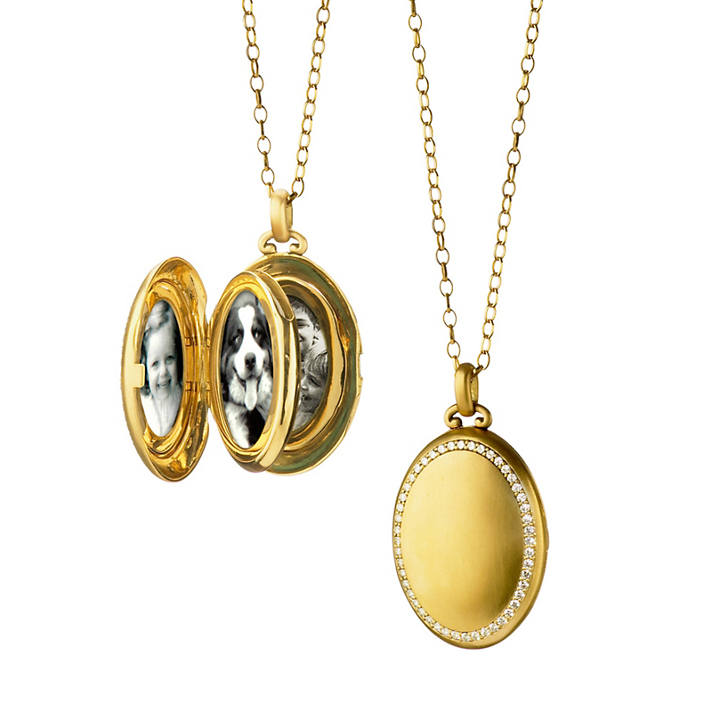 Monica Rich Kosann Satin Gold Oval Locket with Diamond Border