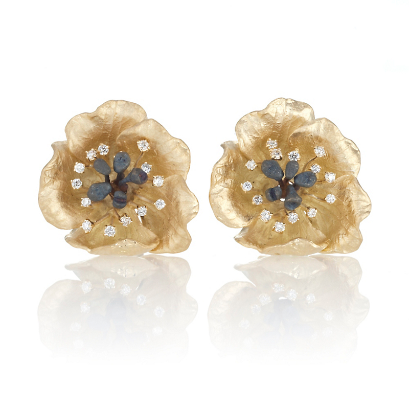 Five-Petal Diamond & Gold Flower Earrings