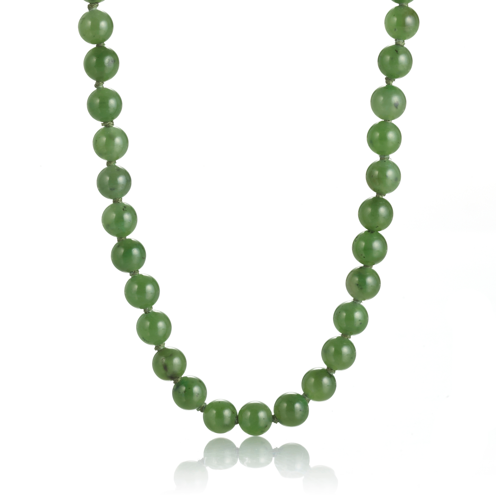 Gump's Small Green Nephrite Jade Bead Rope