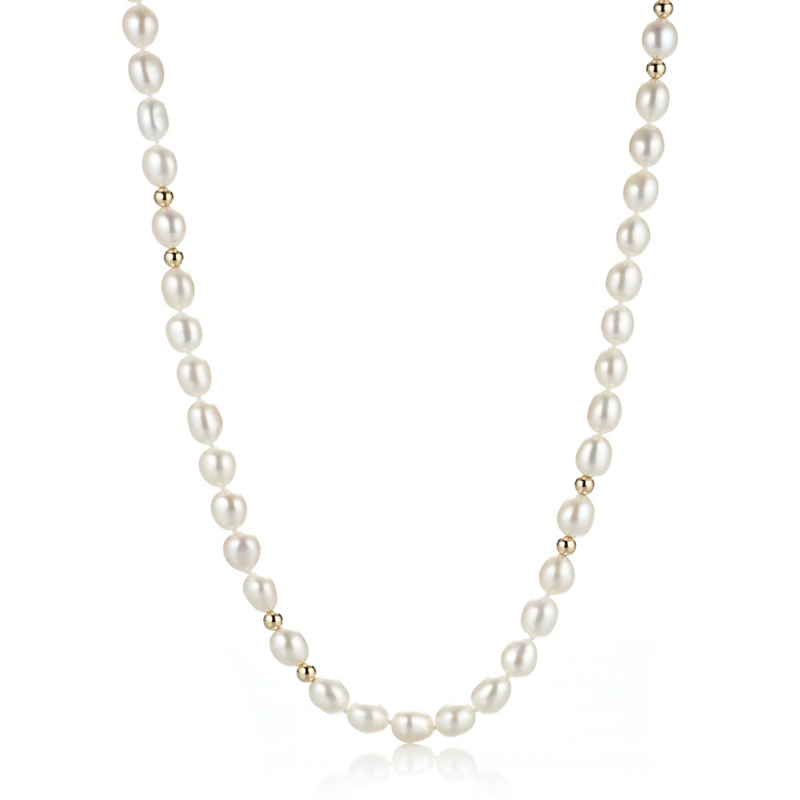 Gump's White Baroque Pearl & Gold Bead Rope