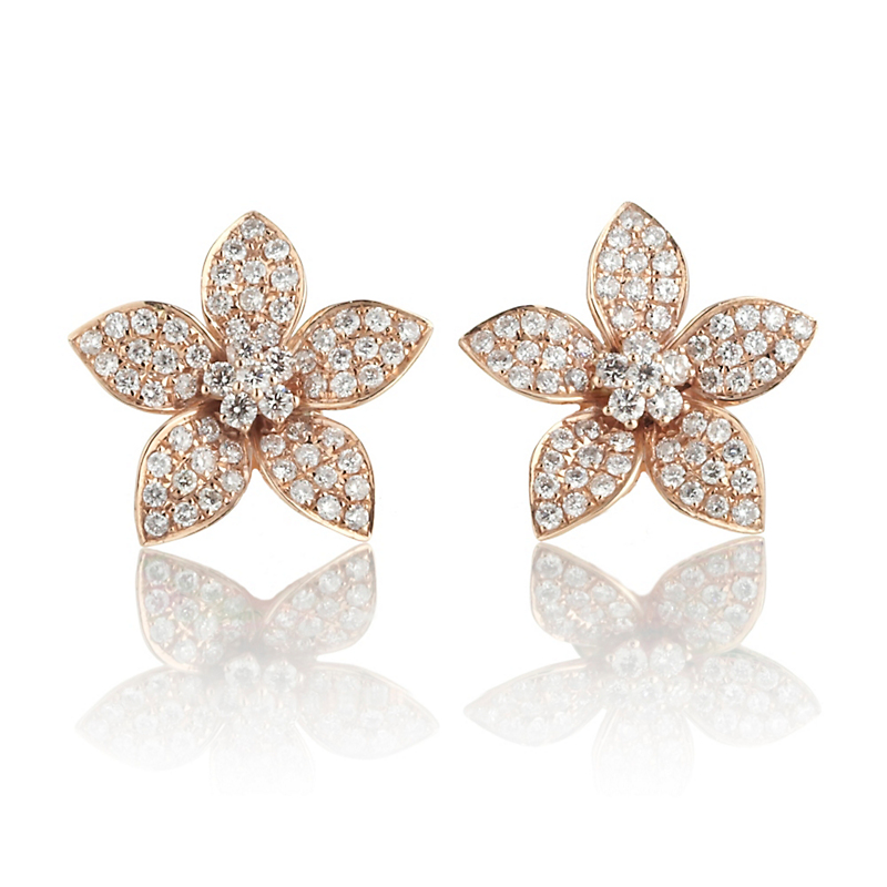 Pavé Diamond & Rose Gold Plumeria Earrings