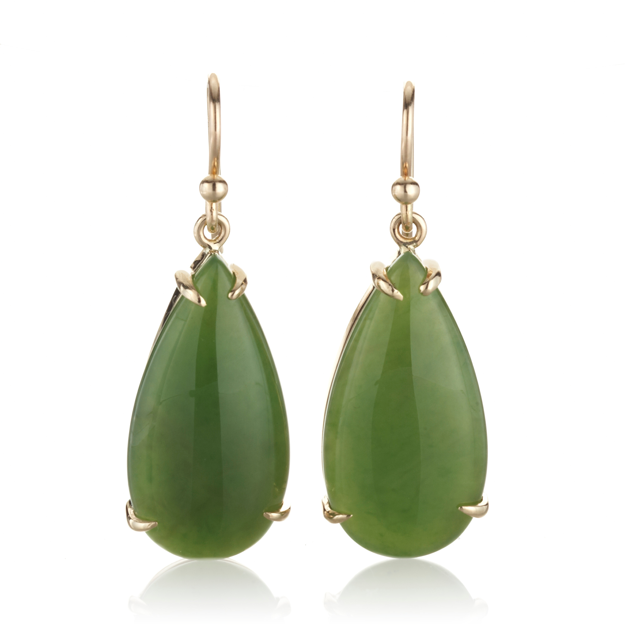 Gump's Green Nephrite Pear Drop Earrings