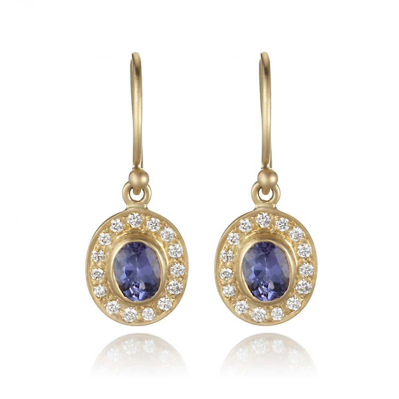 Kothari Tanzanite Diamond Halo Stud Earrings