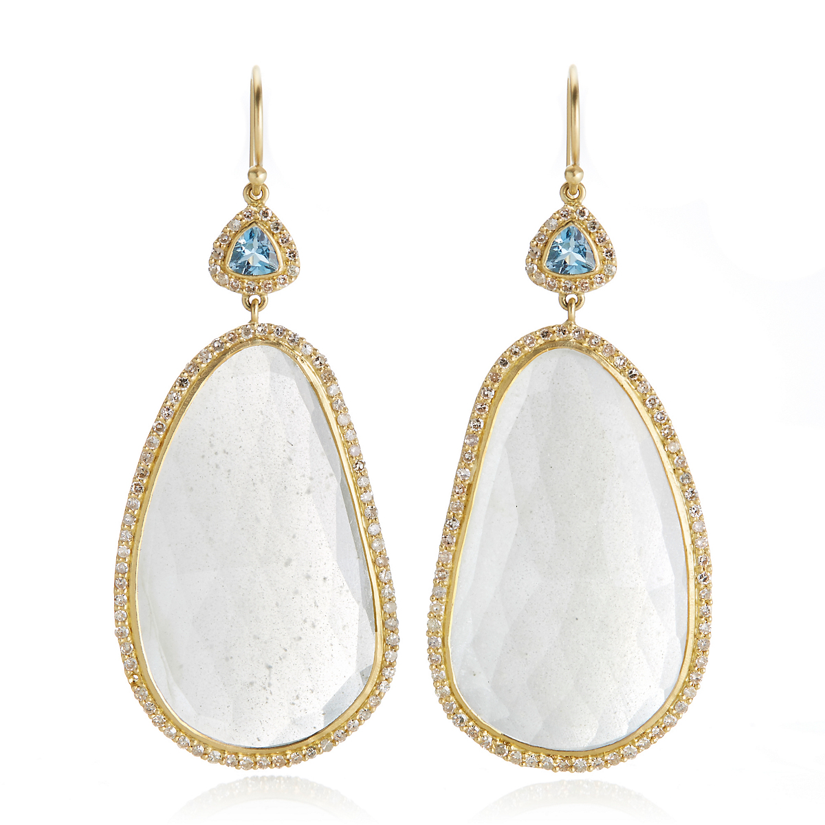 Kothari Organic Moonstone, Aquamarine, & Diamond Drop Earrings