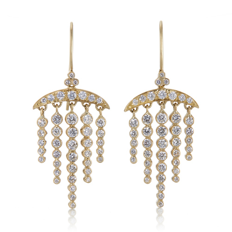 Kothari Diamond Crescent and Constellation Chandelier Earrings