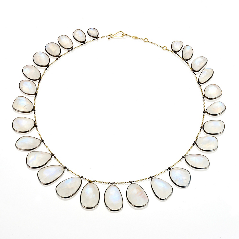 Kothari Rose Cut Moonstone Gold & Oxidized Silver Fringe Necklace