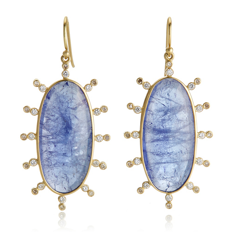 Kothari Tanzanite and Diamond Oval Satellite Drop Earrings