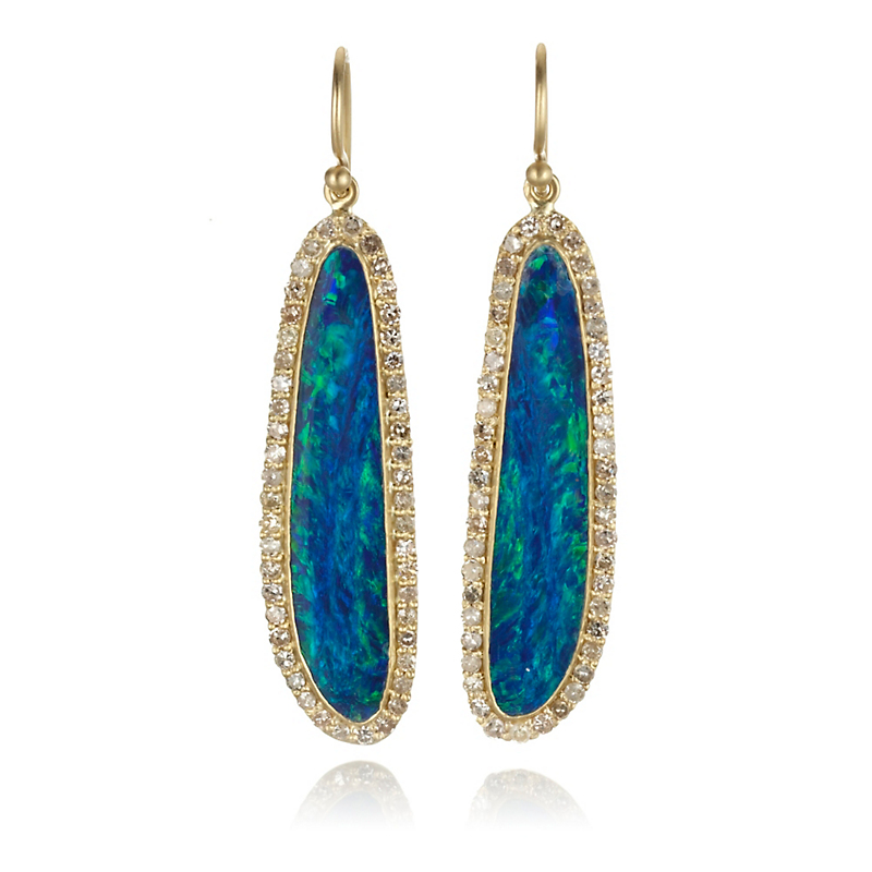 Kothari Boulder Opal Diamond Halo Drop Earrings
