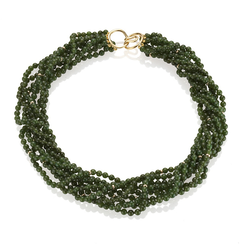 Gump's Eight-Strand Green Nephrite Jade & Gold Necklace