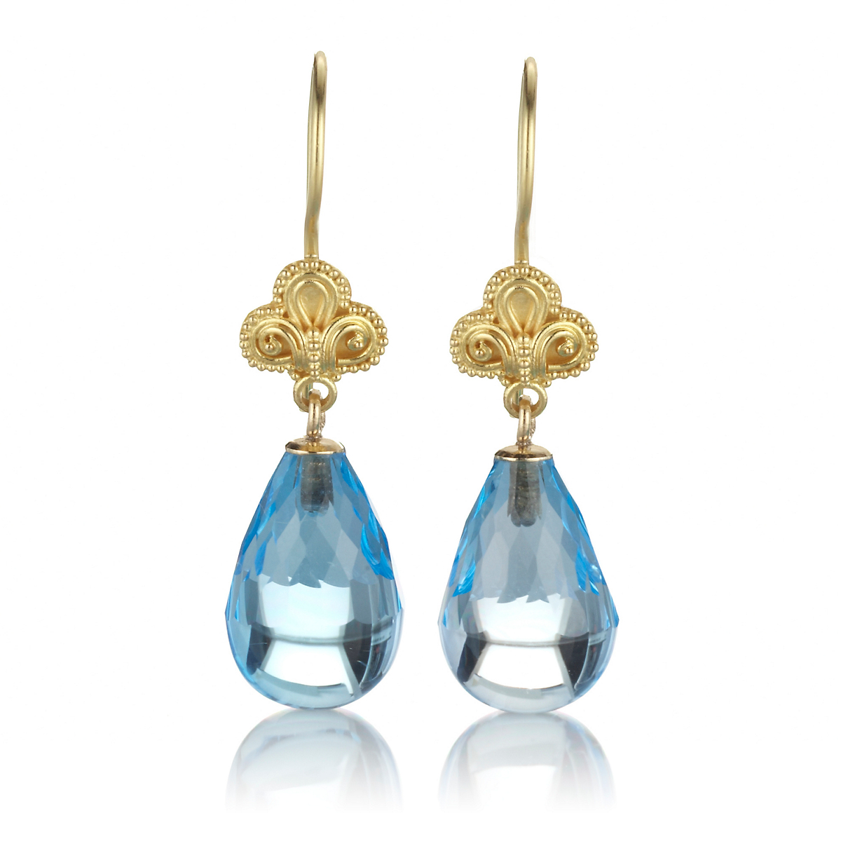 Gump's Gold Triple Swirl & Blue Topaz Drop Earrings