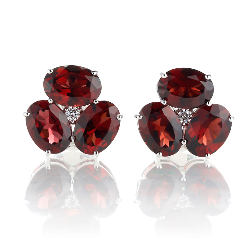 Gump's Garnet & Diamond Cluster Earrings