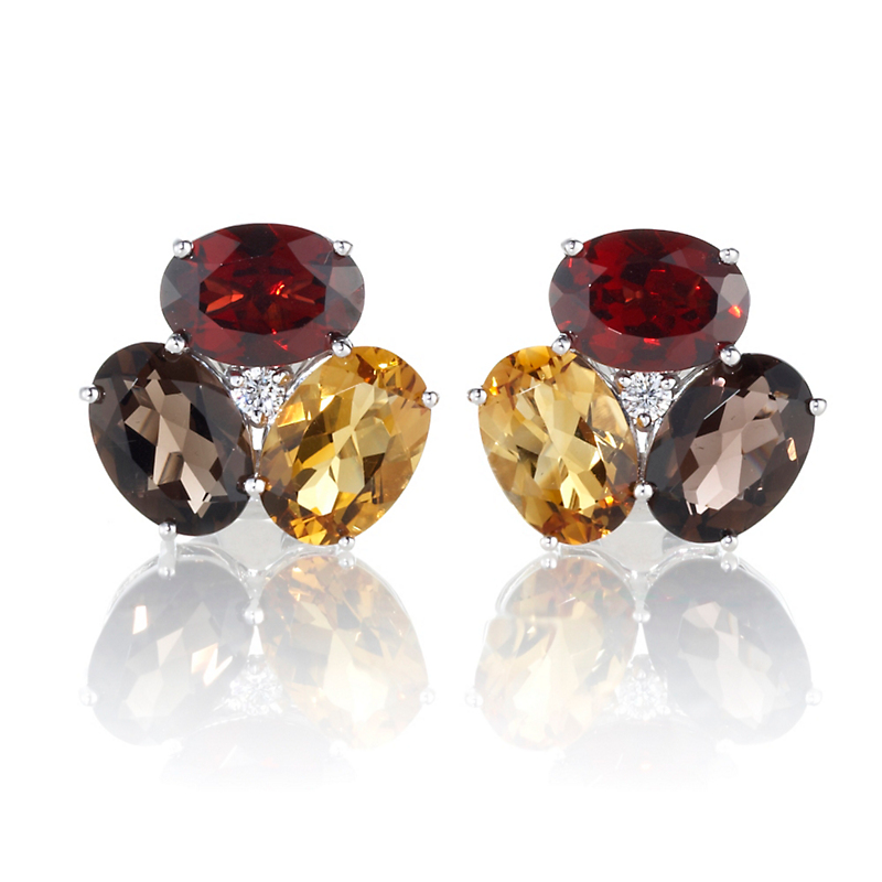 Gump's Garnet, Citrine, Smokey Quartz & Diamond Earrings
