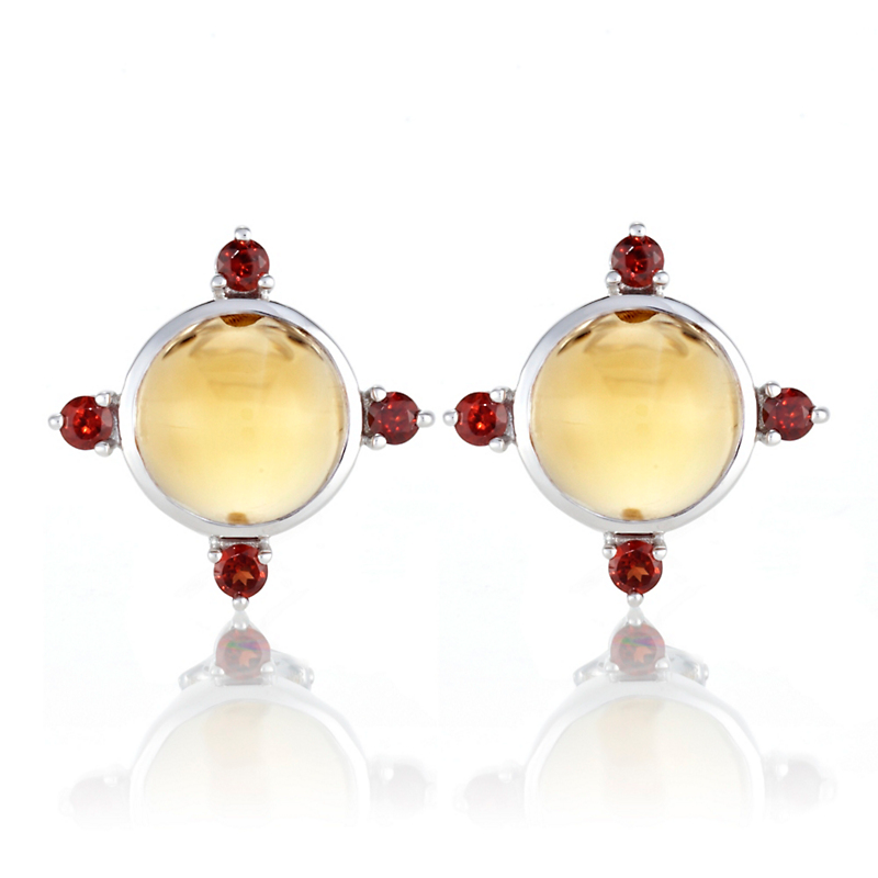 Gump's Citrine Cabochon & Garnet Four Point Earrings