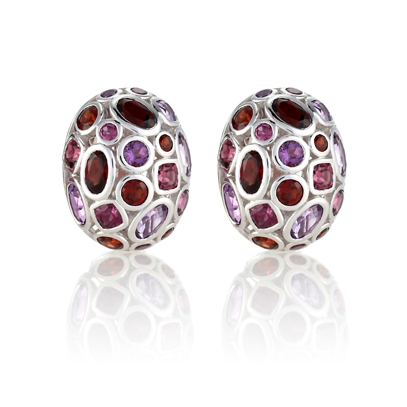 Gump's Amethyst & Rhodolite Garnet Dome Earrings