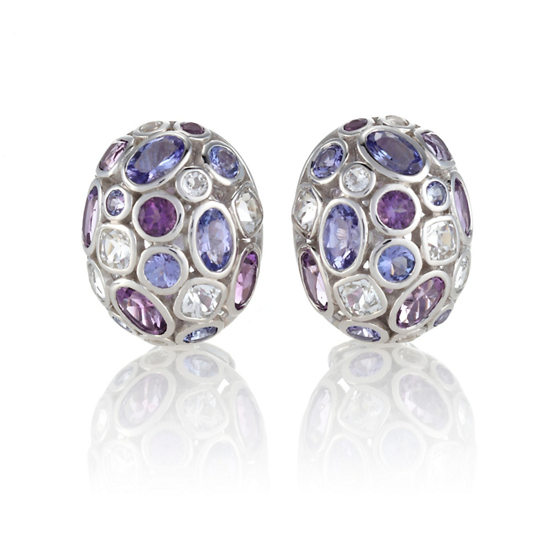 Gump's Amethyst, Tanzanite & White Topaz Dome Earrings