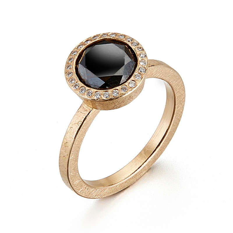 Todd Reed Black & White Diamond Rose Gold Ring