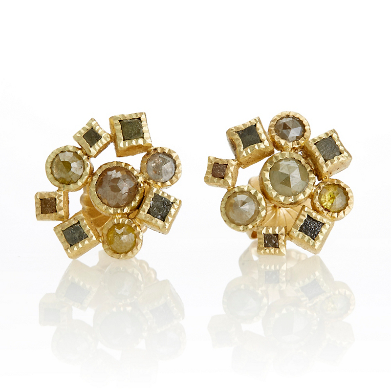 Todd Reed Autumn Diamond Cluster Earrings
