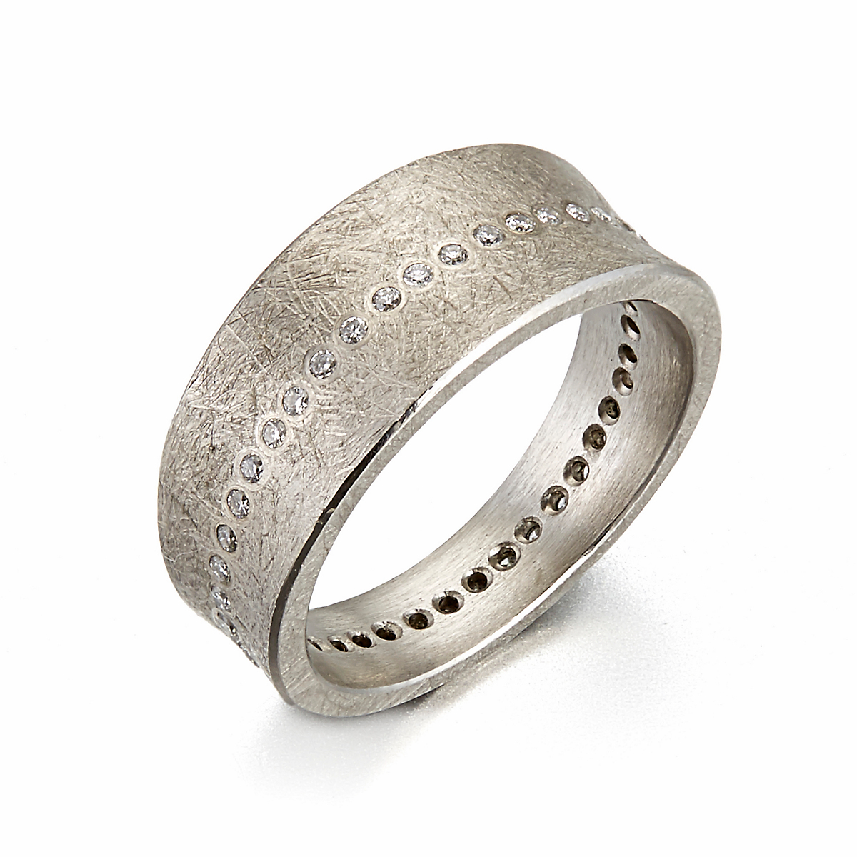 Todd Reed Flush Set Diamond Palladium Tapered Band Ring