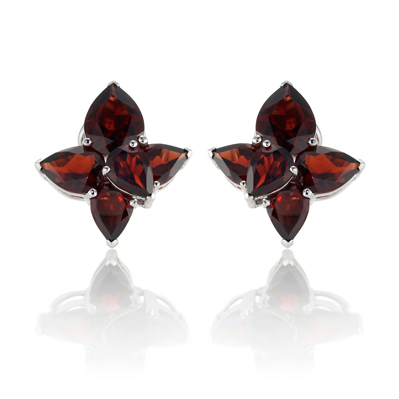 Gump's Faceted Garnet Teardrop Cluster Earrings