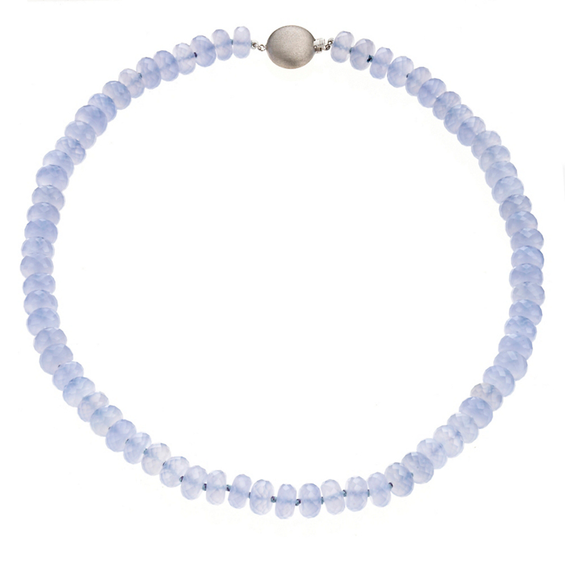 Gump's Faceted Chalcedony Rondelle Silver Necklace
