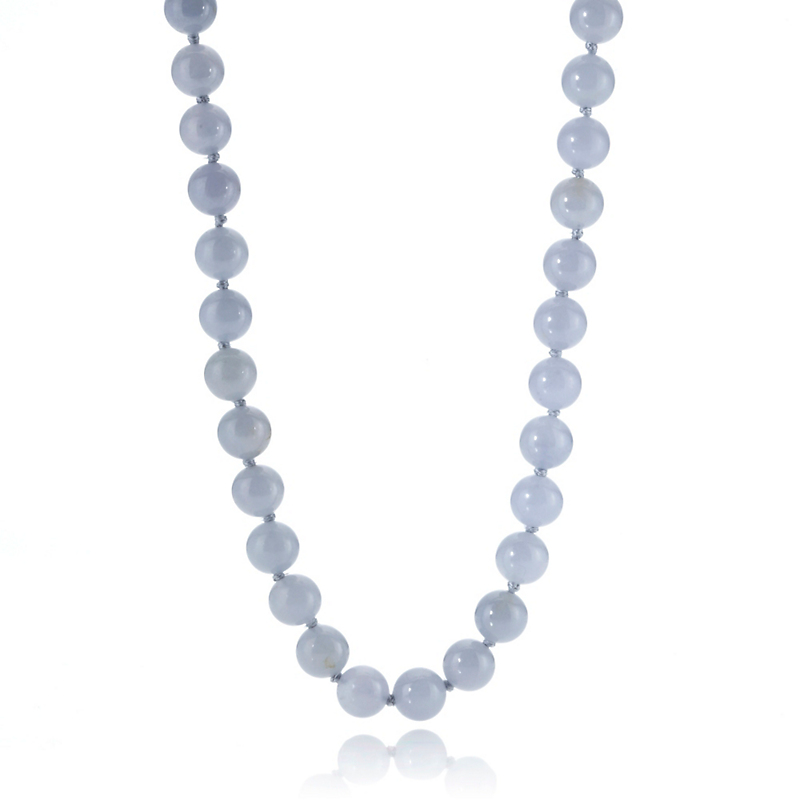 Gump's Blue Jadeite Bead Gold Necklace