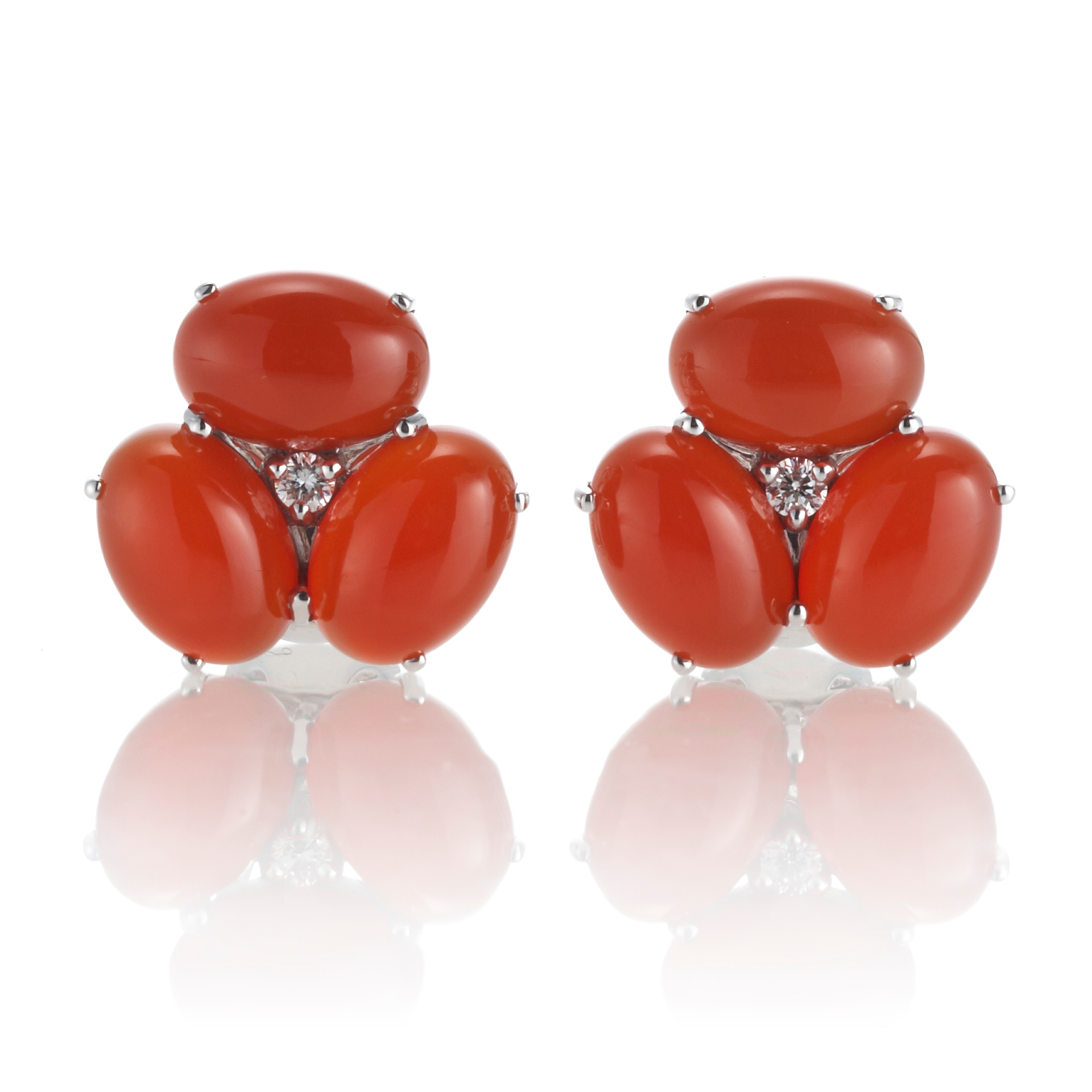 Gump's Carnelian Cabochon & Diamond Cluster Silver Earrings