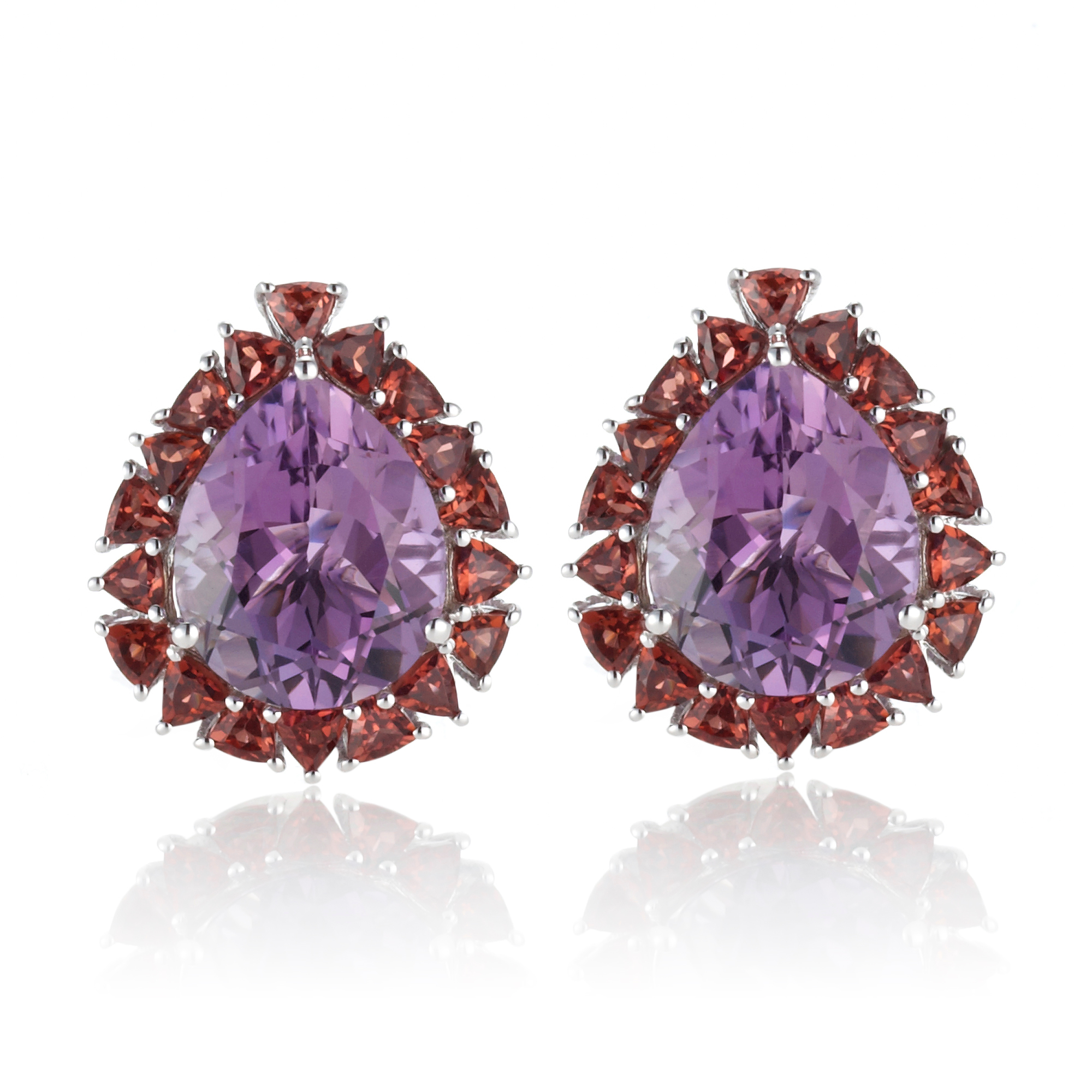 Gump's Amethyst & Garnet Pear Halo Earrings