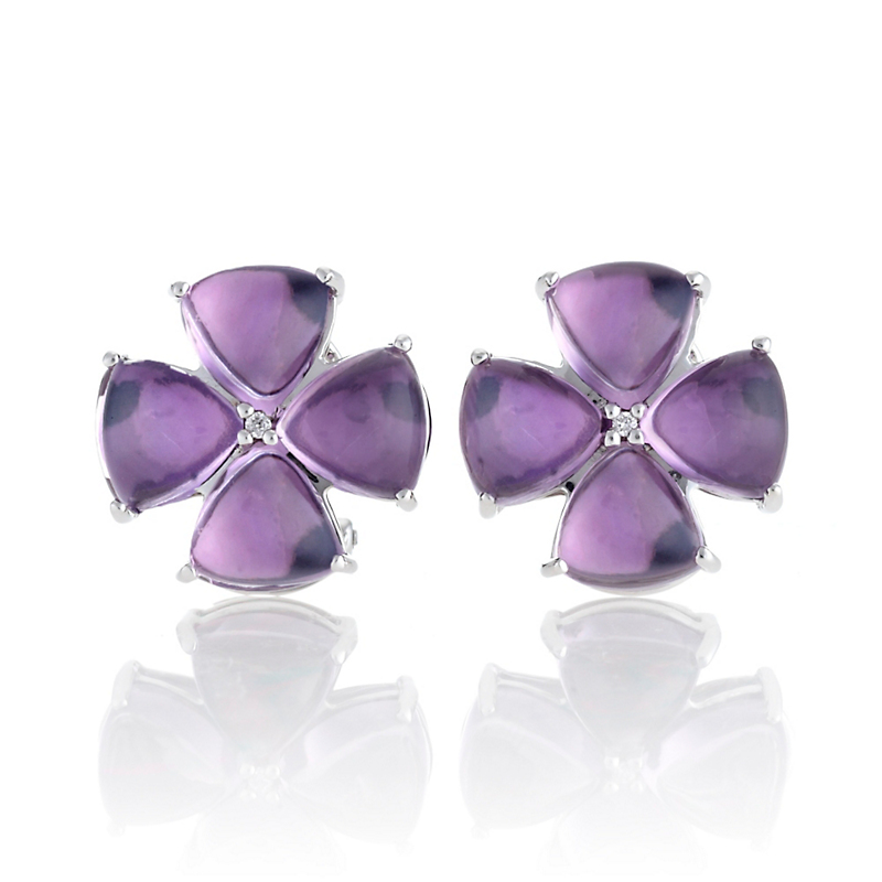 Gump's Amethyst Cabochon & Diamond Flower Silver Earrings