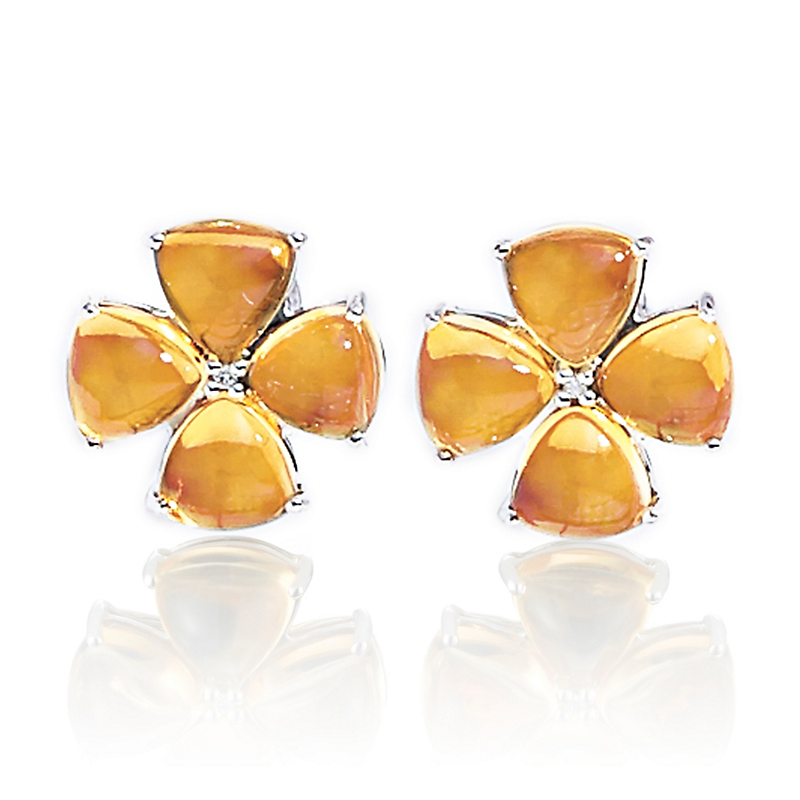 Gump's Citrine Cabochon & Diamond Flower Silver Earrings