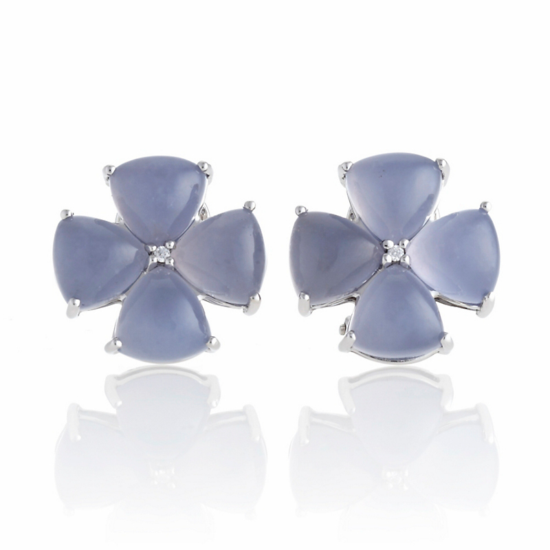 Gump's Chalcedony Cabochon & Diamond Flower Silver Earrings