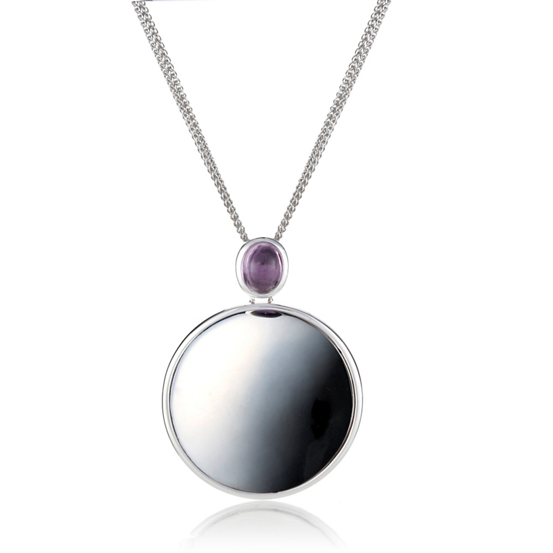 Gump's Amethyst Cabochon & Silver Dome Pendant Necklace