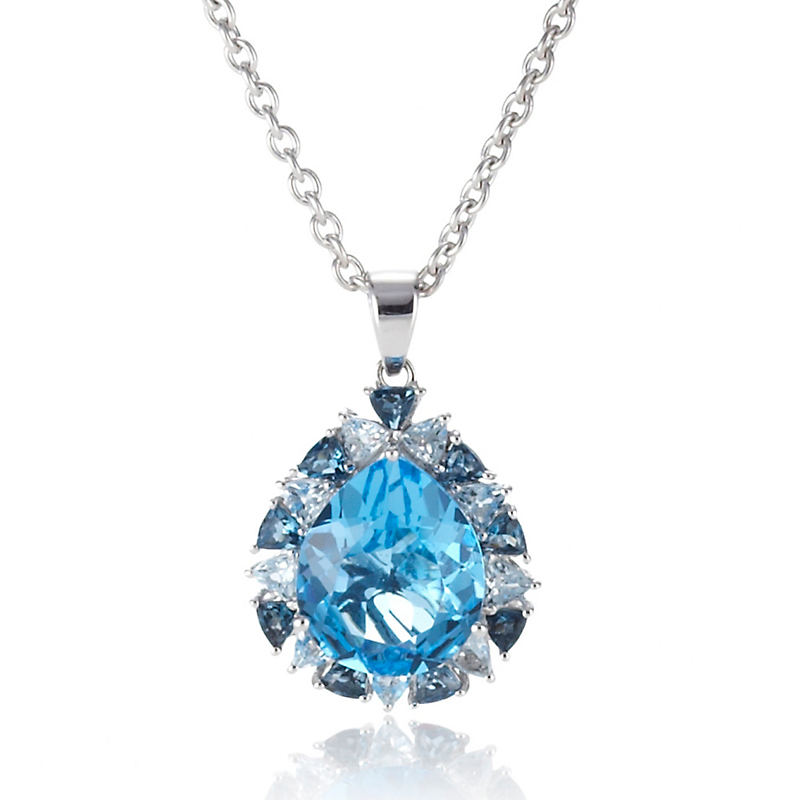 Gump's Blue Topaz Pear Halo Pendant Necklace