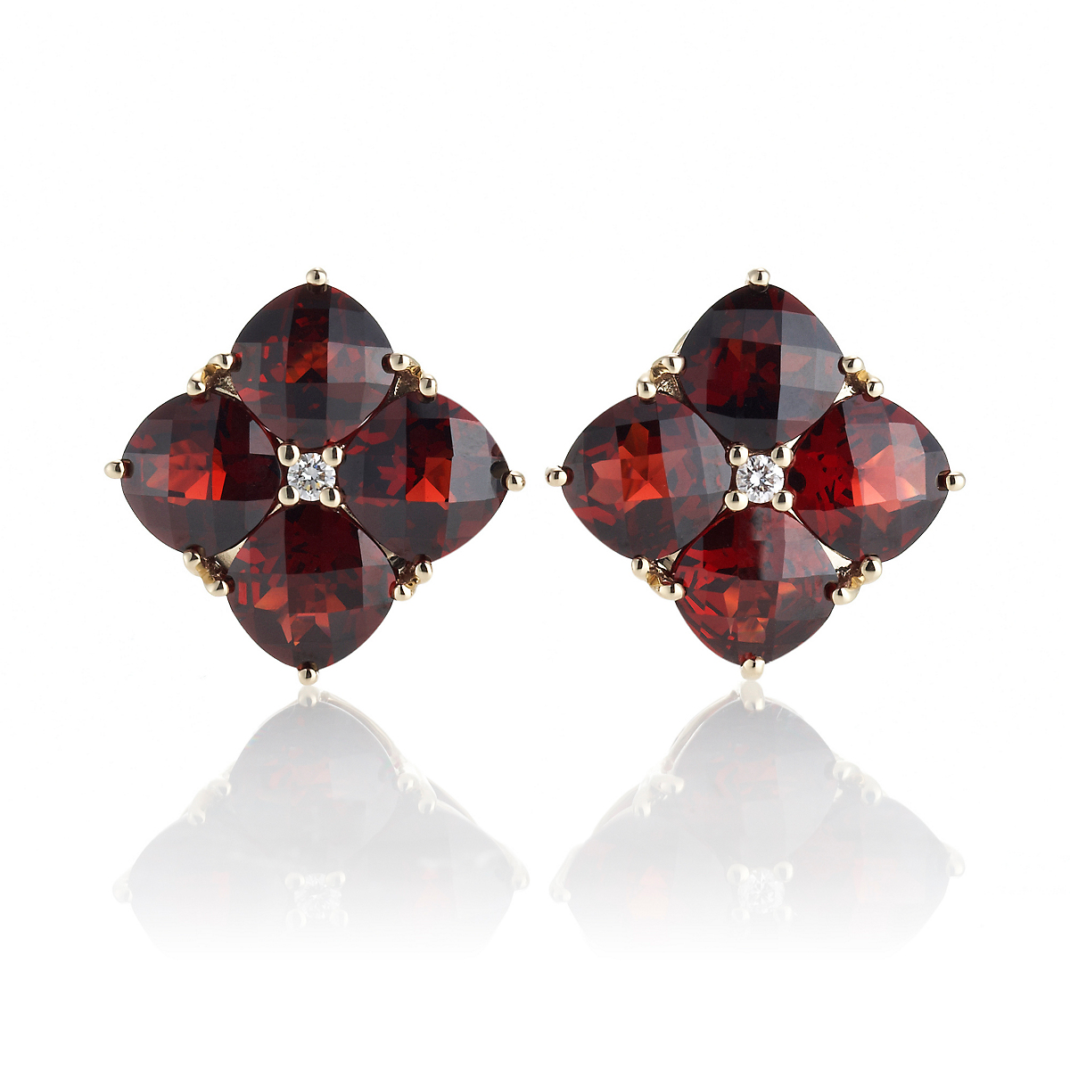 Gump's Faceted Garnet Quad & Diamond Earrings