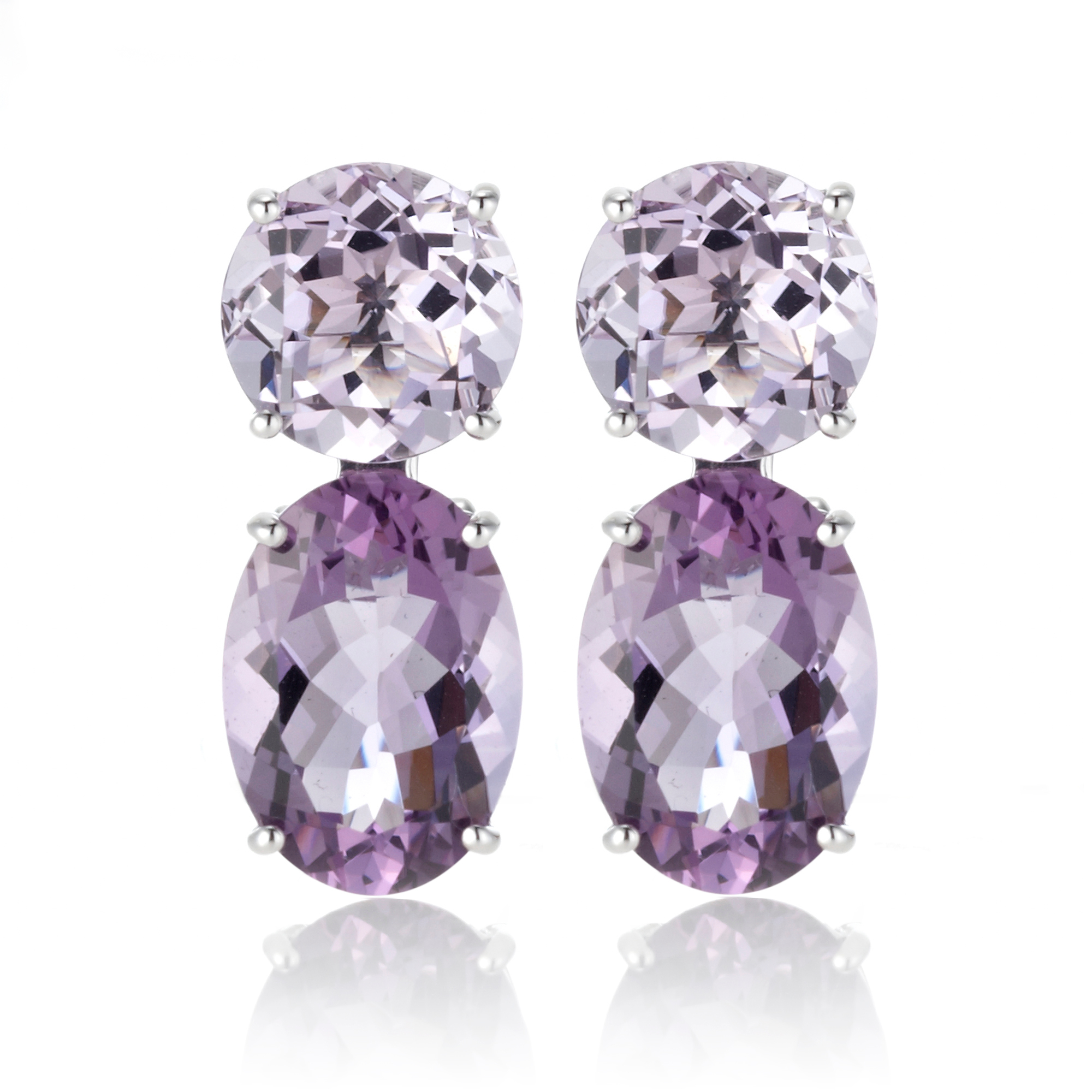 Gump's Round & Oval Amethyst Earrings